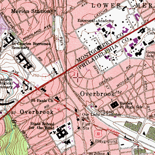 Topographic Map of Booth Memorial Hospital, PA