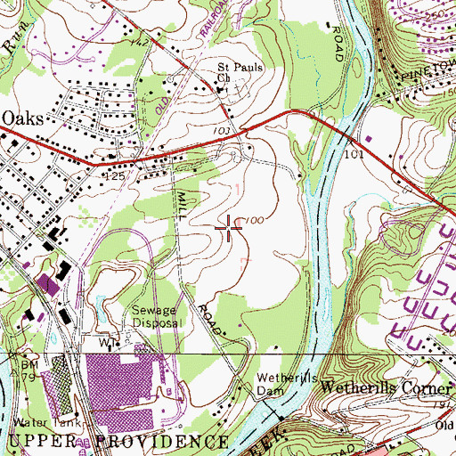 Topographic Map of Lower Perkiomen Valley County Park, PA