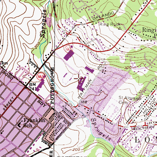 Topographic Map of Pottsgrove High School, PA