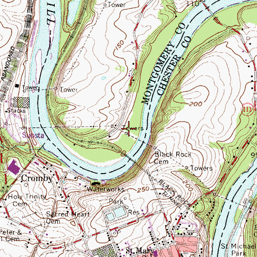 Topographic Map of Upper Schuylkill Valley County Park, PA