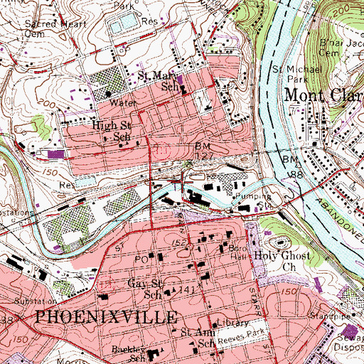 Topographic Map of Phoenixville Dam, PA