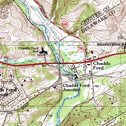 Topographic Map of Chadds Ford Dam, PA