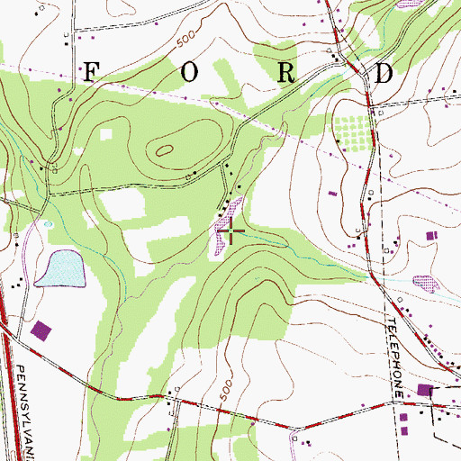 Topographic Map of Anglemans Dam, PA