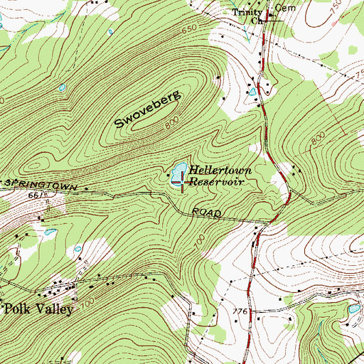 Topographic Map of Number Two Dam, PA