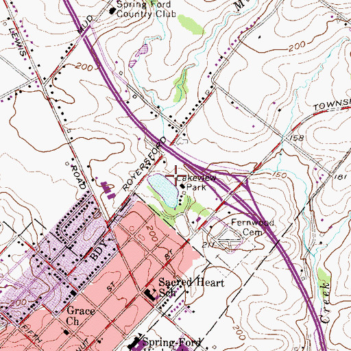 Topographic Map of Lakeview Dam, PA