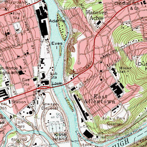 Topographic Map of Allentown High School, PA