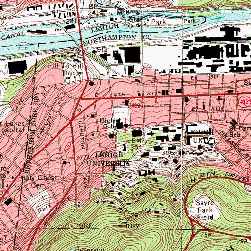 Topographic Map of Bethlehem High School, PA