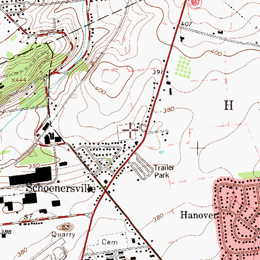 Topographic Map of Village View Park, PA