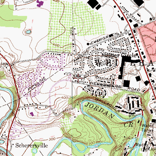 Topographic Map of Peachtree Park, PA