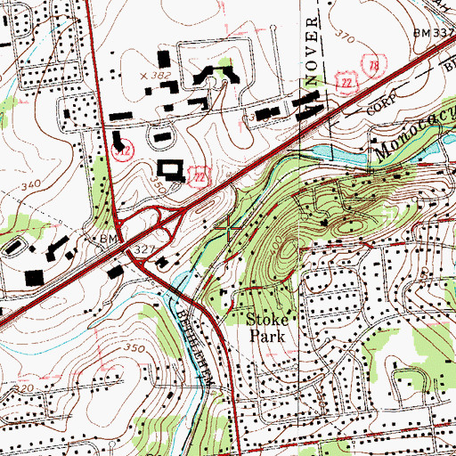 Topographic Map of Gertrude B Fox County Park, PA