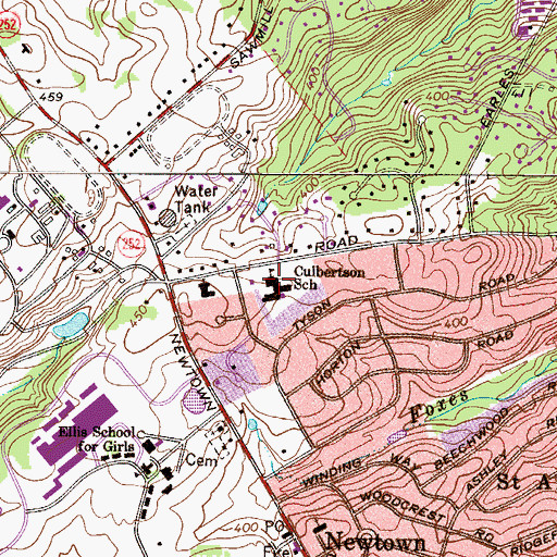 Topographic Map of Culbertson Elementary School, PA