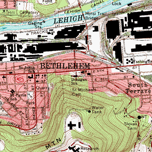 Topographic Map of Donegan Elementary School, PA