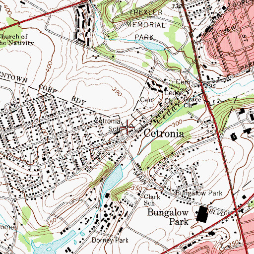 Topographic Map of Cetronia Elementary School, PA