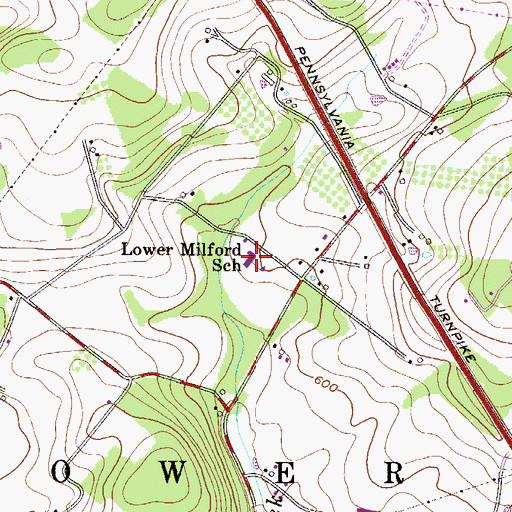 Topographic Map of Lower Milford Elementary School, PA