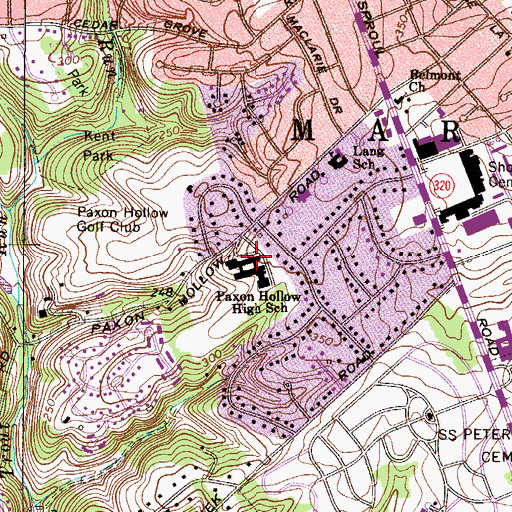 Topographic Map of Paxon Hollow Junior High School, PA