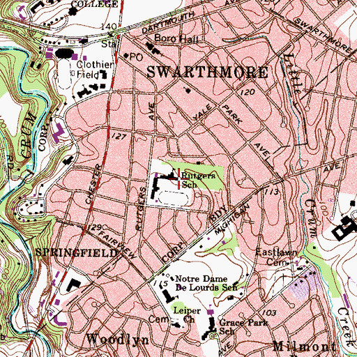 Topographic Map of Crothers School, PA