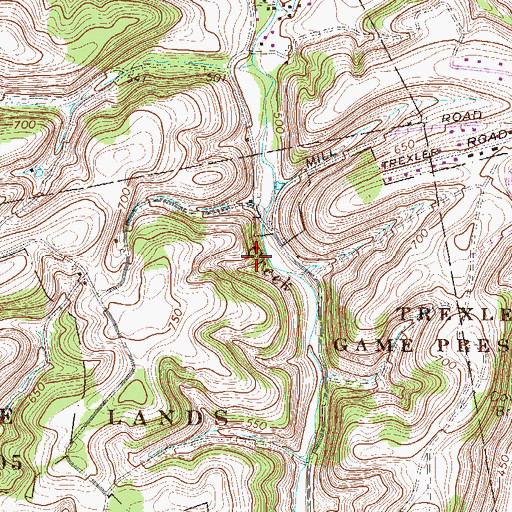 Topographic Map of Bittners Corner, PA
