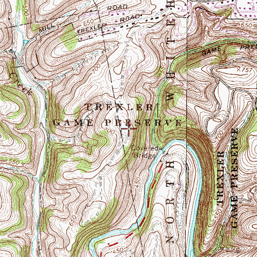 Topographic Map of Mill Hill, PA