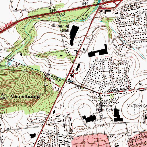 Topographic Map of Oakland Plaza, PA