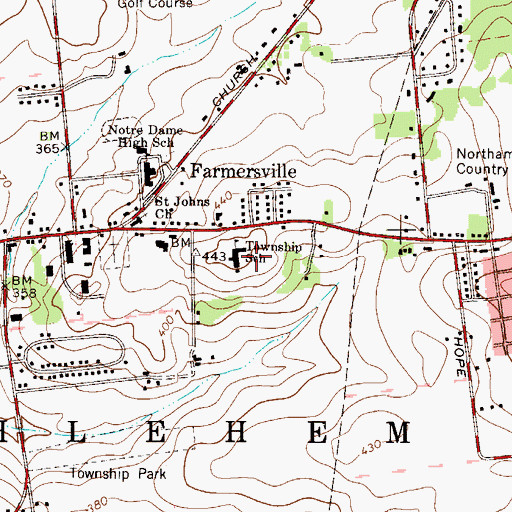 Topographic Map of Farmersville Elementary School, PA