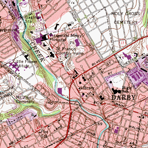 Topographic Map of Blessed Virgin Mary School, PA
