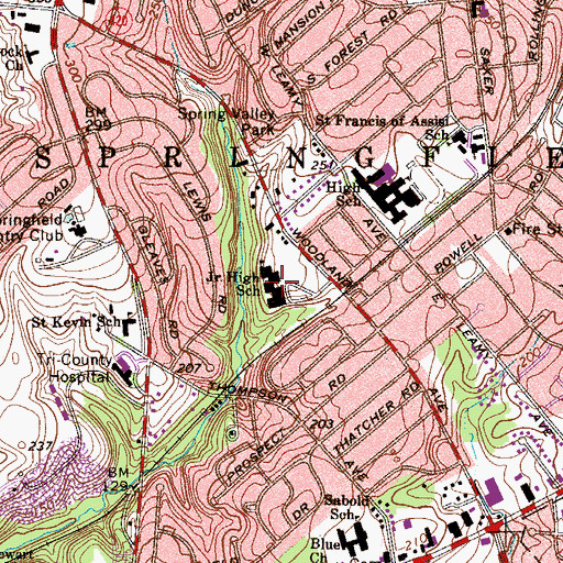 Topographic Map of E L Richardson Middle School, PA