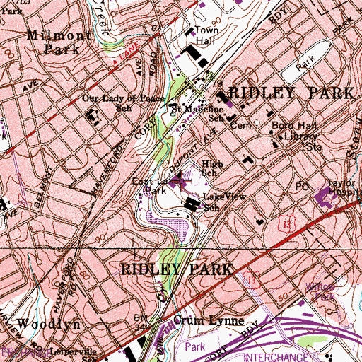 Topographic Map of Ridley Junior High School, PA