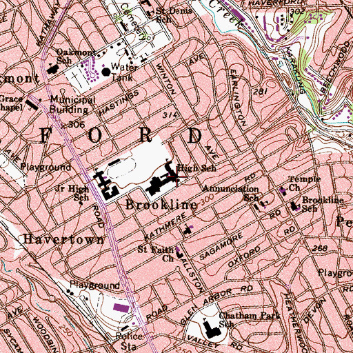 Topographic Map of Haverford High School, PA