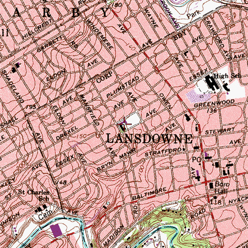 Topographic Map of Ardmore Avenue Elementary School, PA