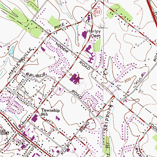 Topographic Map of Indian Valley Junior High School, PA