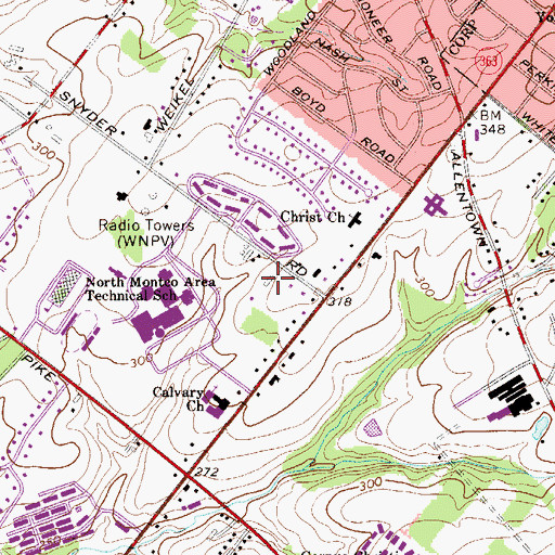 Topographic Map of North Penn Senior High School, PA