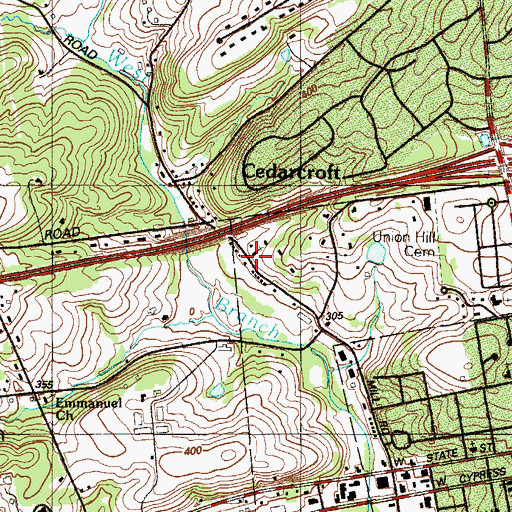 Topographic Map of Kennett Square Mennonite Church, PA
