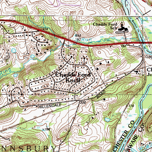 Topographic Map of Chadds Ford Knoll, PA