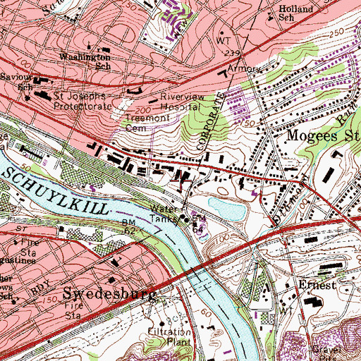 Topographic Map of Earnest Street Yard Station, PA