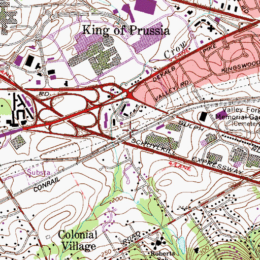 Topographic Map of King of Prussia Station, PA