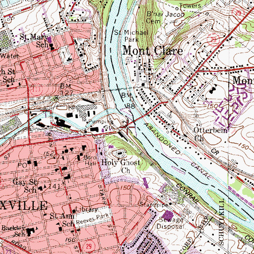 Topographic Map of Phoenixville Station, PA