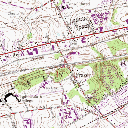 Topographic Map of Exton Station, PA