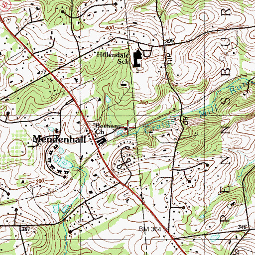 Topographic Map of Mendenhall Station, PA