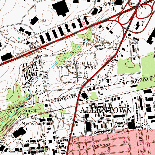 Topographic Map of Cedar Hill Memorial Park, PA