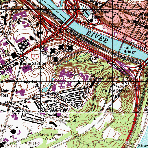 Topographic Map of Greenbrier Country Club, PA