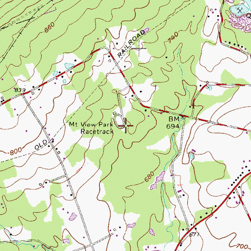 Topographic Map of Mount View Park Racetrack, PA