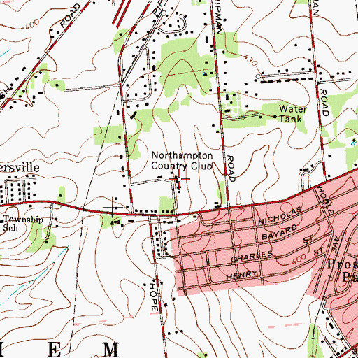 Topographic Map of Northampton Country Club, PA