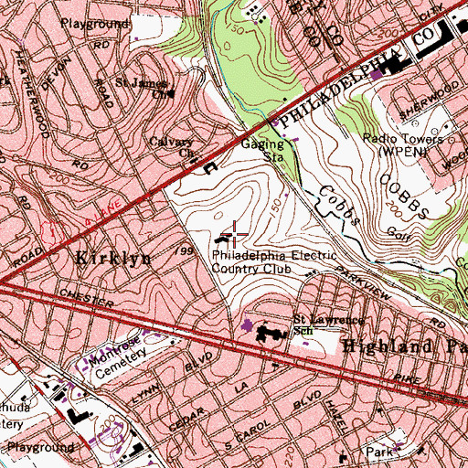 Topographic Map of Philadelphia Electric Country Club, PA
