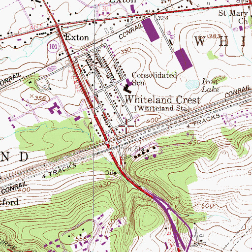 Topographic Map of Whiteland Crest, PA