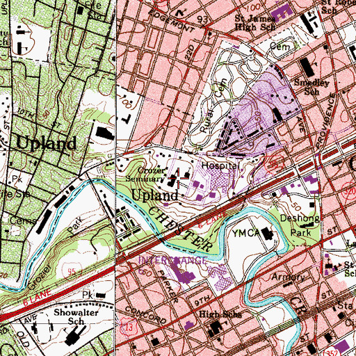 Topographic Map of Crozer Seminary, PA