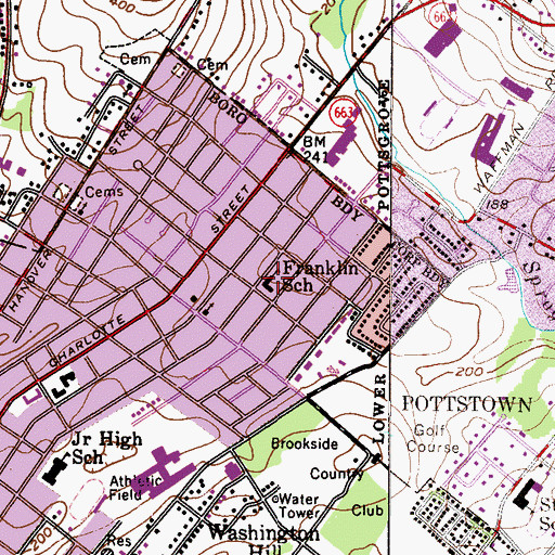Topographic Map of Franklin Elementary School, PA