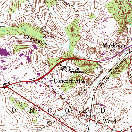 Topographic Map of Brandywine Academy, PA