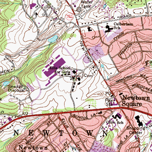 Topographic Map of Ellis School for Girls (historical), PA