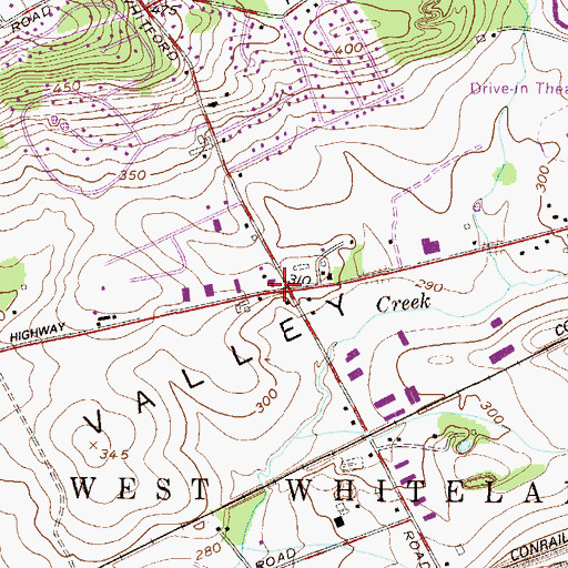 Topographic Map of Whitford Post Office (historical), PA