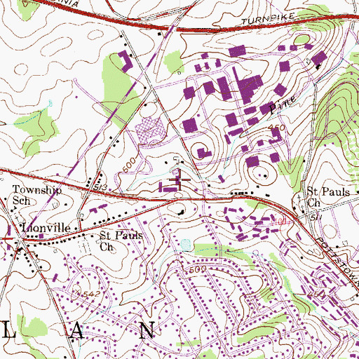 Topographic Map of Route 100 Shoppes, PA